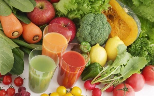 Овощи, фрукты, свежевыжатые соки