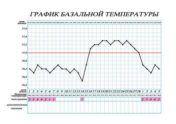 Кривая БТТ при среднем менструальном цикле