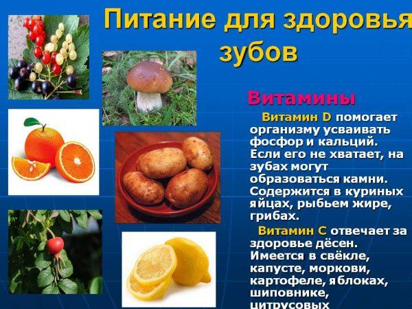 Продукты с витаминами D и C