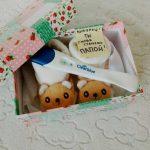 пинетки и тест на беременность в коробочке