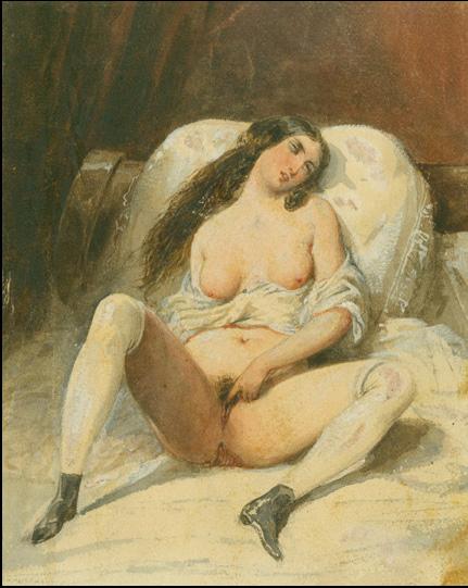 Средневековая женщина держит руку на влагалище