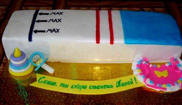 Торт в виде теста на беременность