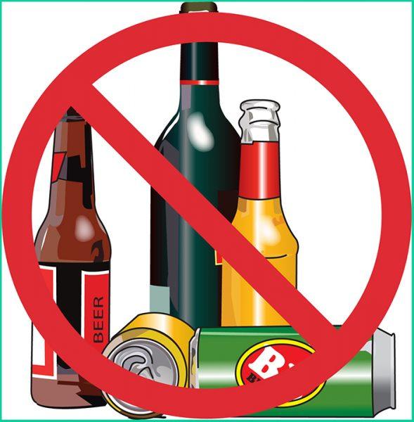 Алкоголь и знак запрета