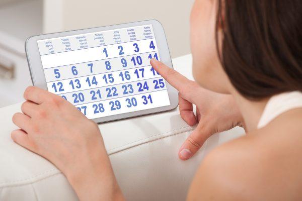 Беременная изучает календарь