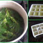 Отвар крапивы в кастрюле, залитый в формочку и в виде льда