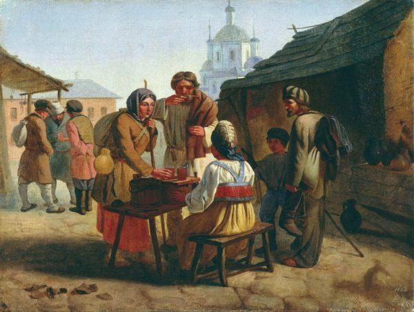 В древней Руси женщина продаёт на улице квас