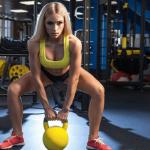 Девушка в спортзале собирается поднять гирю