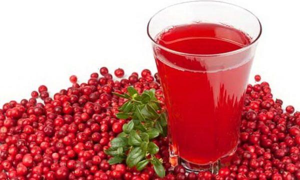 клюквенный морс в стакане в окружении ягод