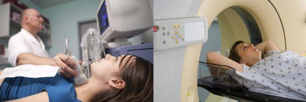 Врач делает женщине УЗИ щитовидной железы, женщину помещают в капсулу для МРТ