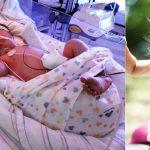 Новорождённая девочка и она же через несколько лет